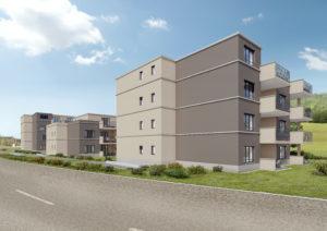 Seenhof_1-300x212 3D-Visualisierung Siedlung mit 3 MFH