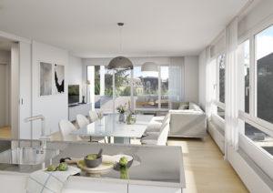Zuerich_Innen_EG_20-12_var2-300x212 Innenansicht Wohnzimmer - Visualisierung Sanierung MFH Zürich